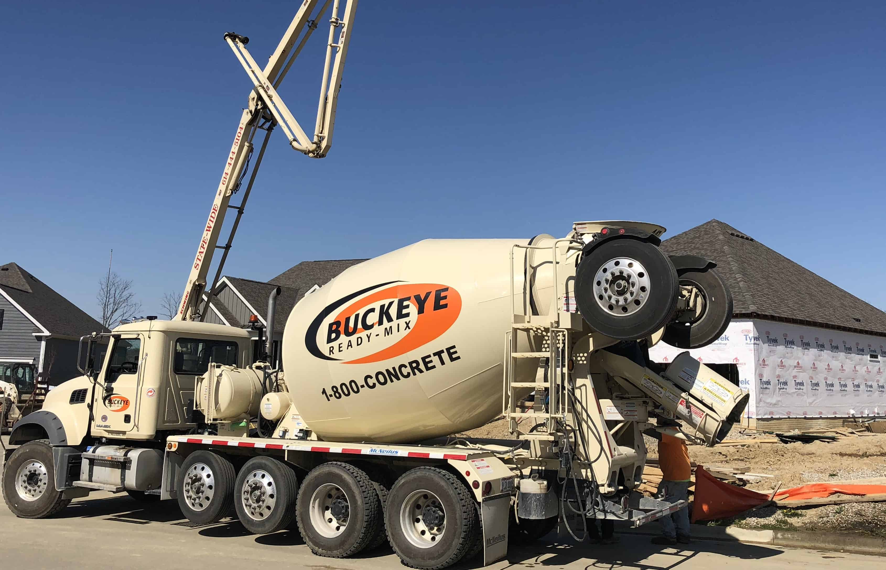 1-800-CONCRETE | BUCKEYE READY MIX AT RESIDENTIAL GARAGE POUR IN WESTERVILLE OH FOR M/I HOMES