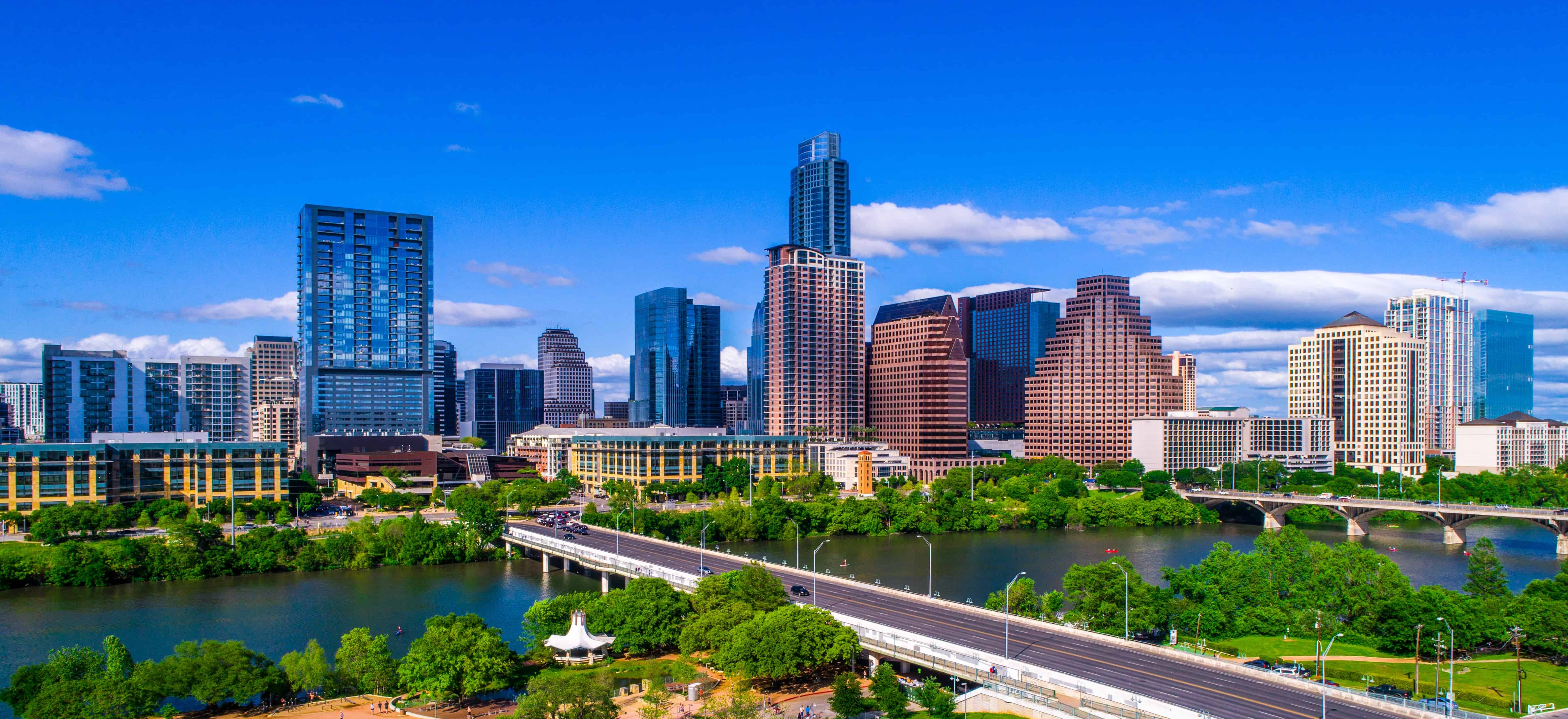Image of Austin Skyline with text