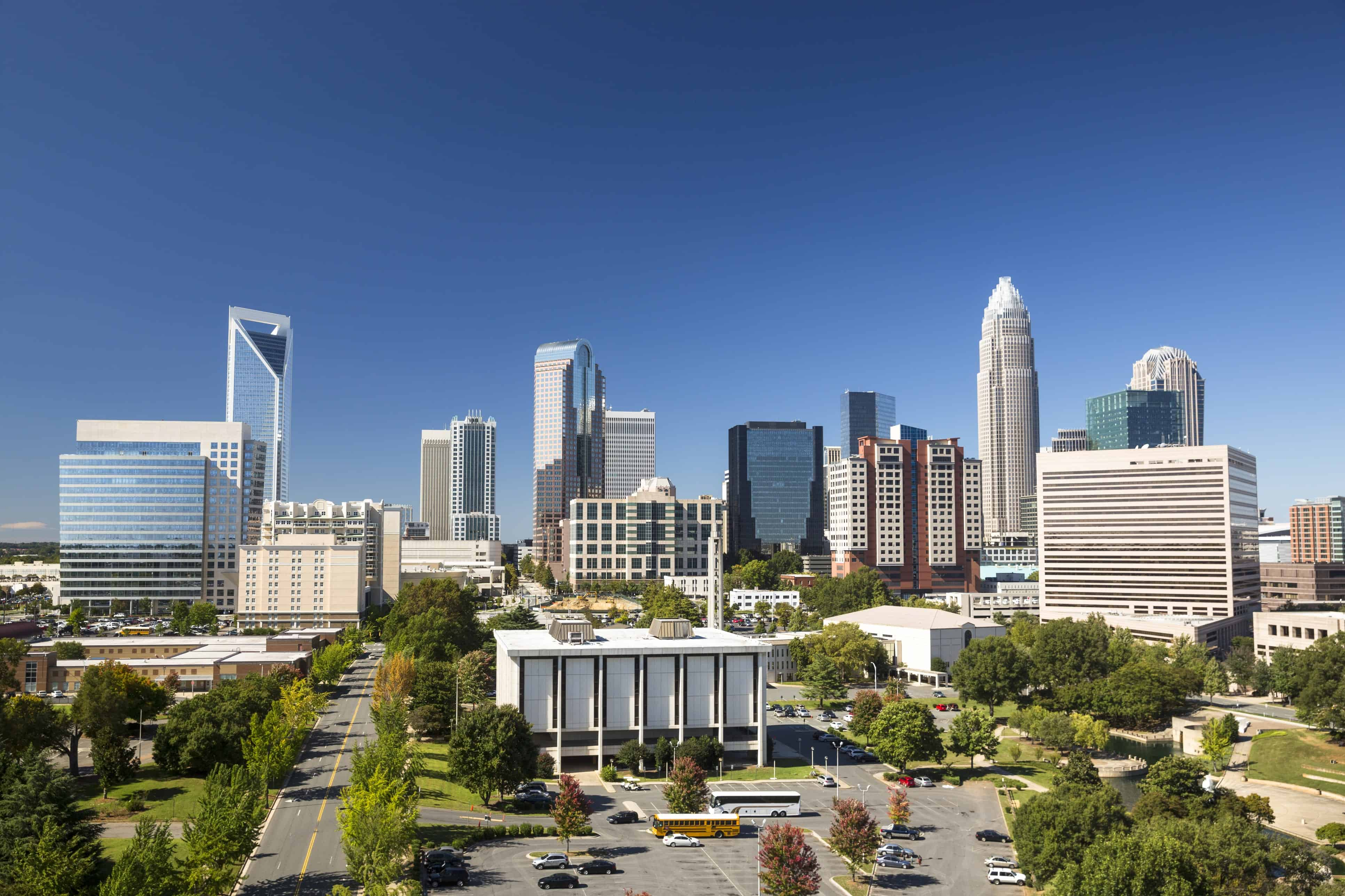 Image of Charlotte Skyline with text