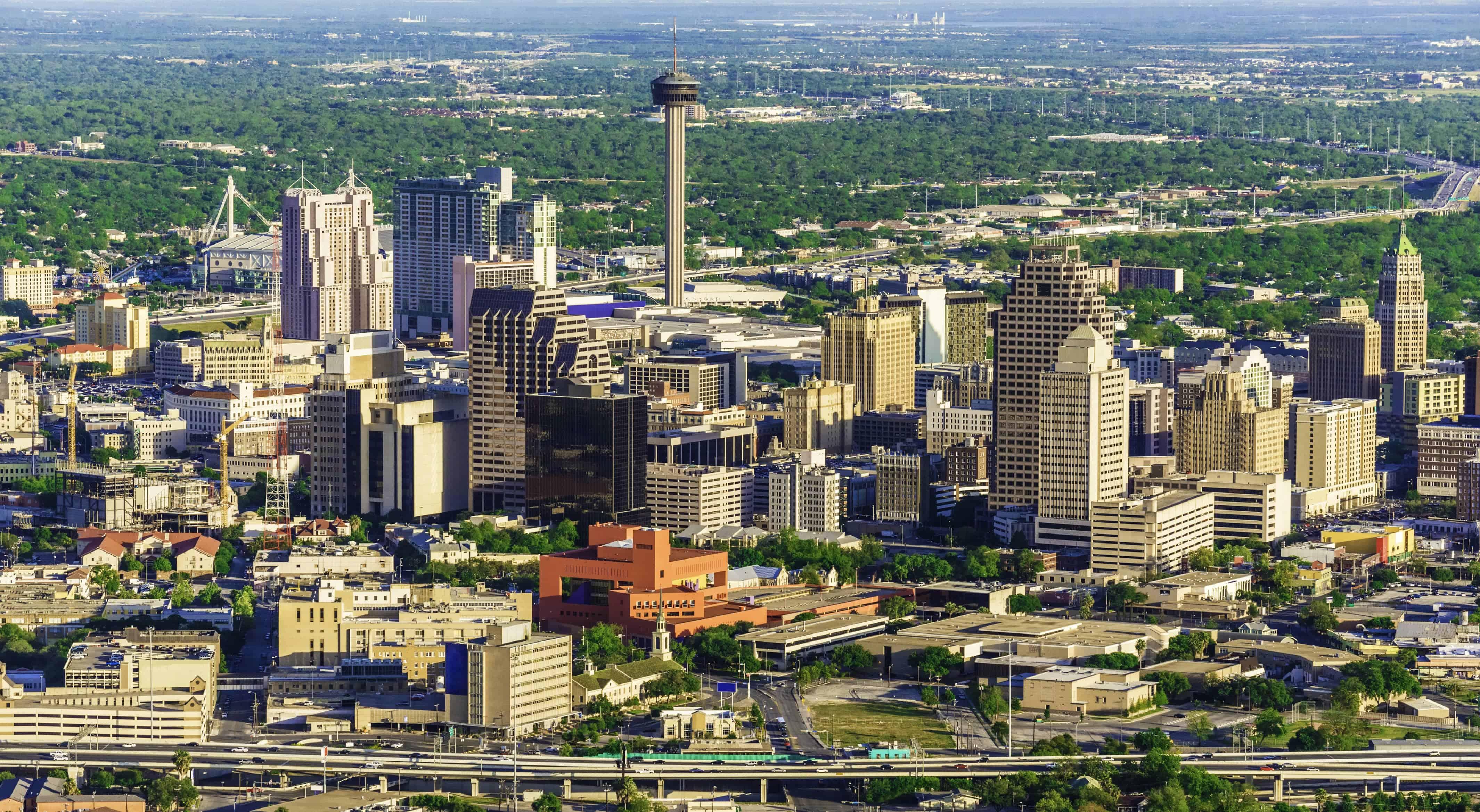 Image of San Antonio Skyline with text